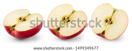 Red apple isolate. Cut apples on white. Apple slice set with clipping path. #1499349677