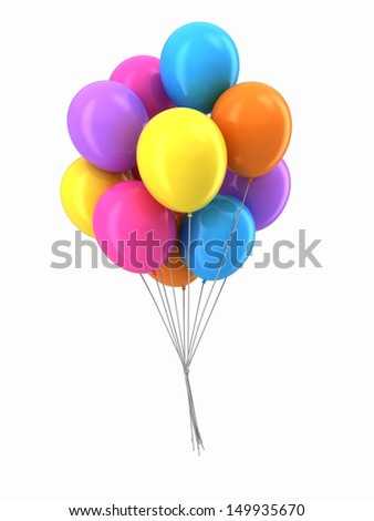 3d render of baloons floating together