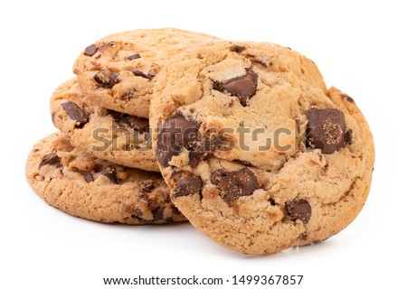 Chocolate chip cookies isolated on white background, Homemad cookies close up. #1499367857