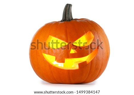 Glowing Halloween Pumpkin isolated on white background #1499384147