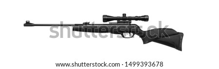 Air rifle with a telescopic sight isolate on a white background. Pneumatic gun. Sports air rifle for accurate aiming shooting. #1499393678