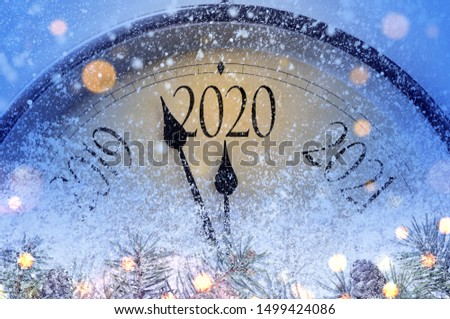 Countdown to midnight. Retro style clock counting last moments before Christmass or New Year 2020. #1499424086