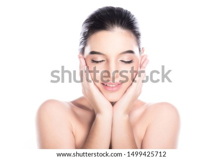 Beauty woman face isolate in white background. Young caucasian girl, perfect skin, cosmetic, spa, beauty treatment concept. Both hands on face, eye close, smile. #1499425712
