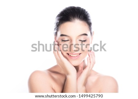Beauty woman face isolate in white background. Young caucasian girl, perfect skin, cosmetic, spa, beauty treatment concept. Two hands on jaw, close eye, big smile. #1499425790