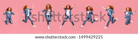 Collage of teen redhead girl jumping in air on pink background, panorama #1499429225