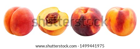 Peach isolated on white background, collection of ripe whole and sliced peaches with clipping path #1499441975