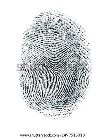 Finger Print on white Paper. Black and White. #1499515313