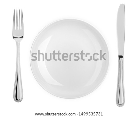 Empty plate, fork, knife, clipping path, cutlery isolated on white background, clipping path, top view Royalty-Free Stock Photo #1499535731