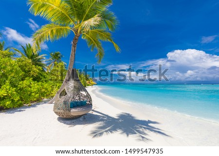Tropical beach background as summer landscape with beach swing or hammock and white sand and calm sea for beach banner. Perfect beach scene vacation and summer holiday concept. Boost up color process #1499547935
