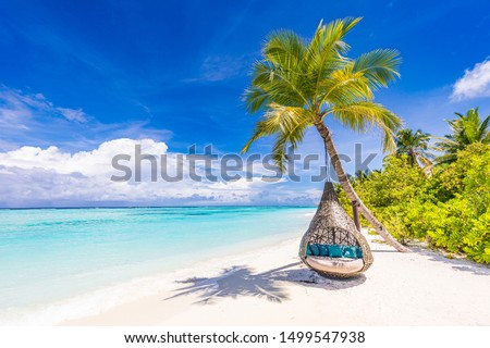 Tropical beach background as summer landscape with beach swing or hammock and white sand and calm sea for beach banner. Perfect beach scene vacation and summer holiday concept. Boost up color process #1499547938