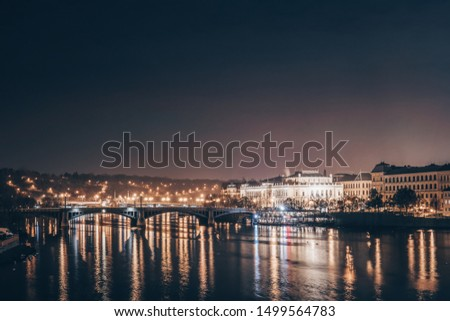 The night city of Panoramic photo Night European city Prague #1499564783