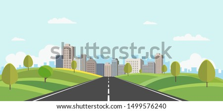 Hills landscape with cityscape on background vector illustration.Public park and town with sky background.Beautiful nature scene with road to city. Royalty-Free Stock Photo #1499576240