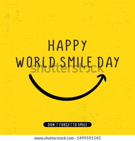 Happy world smile day banner vector illustration greeting design on yellow background Royalty-Free Stock Photo #1499591543