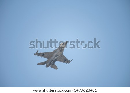 F16 fighter plane is running up