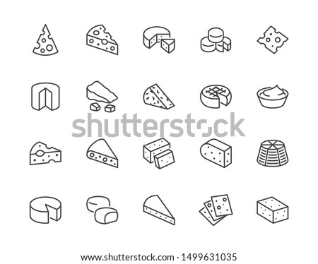 Cheese flat line icons set. Parmesan, mozzarella, yogurt, dutch, ricotta, butter, blue chees piece vector illustrations. Outline signs for dairy product store. Pixel perfect. Editable Strokes. #1499631035