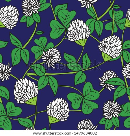 Hand drawn ink and color seamless vector floral pattern. Delicate white clover flowers with green leaves on dark blue background #1499634002