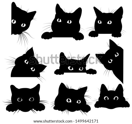 Set of black cats looking out of the corner. Collection of cat faces that spy on you. Playing pets. Tattoo. #1499642171