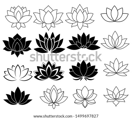Set of stylized lotuses. Collection of lotus flowers for a logo. Black white vector illustration. Tattoo. #1499697827