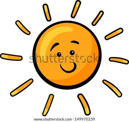 Cartoon Illustration of Cute Sun Character Clip Art