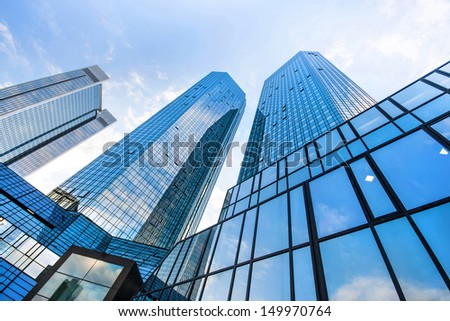 FRANKFURT - JULY 4: Bottom view of Deutsche Bank Twin Towers on July 4, 2013 in the central business district of Frankfurt am Main, Germany. Frankfurt is the largest financial centre in Europe. #149970764