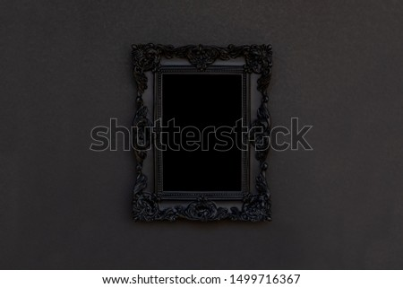 Black frame on black background, halloween copy space