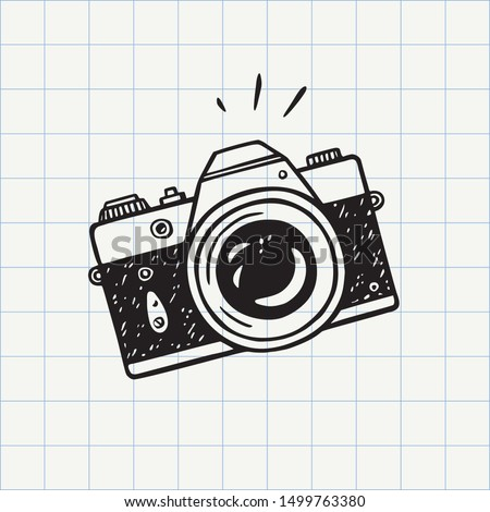 Photo camera doodle icon. Hand drawn sketch in vector #1499763380