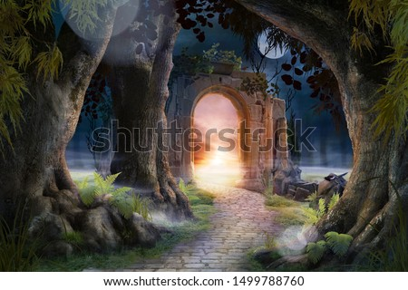 Archway in an enchanted fairy garden landscape, can be used as background #1499788760