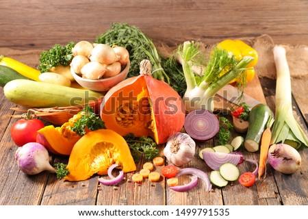 assorted of autumn vegetables- zucchini, pumpkin, leek, onion... #1499791535