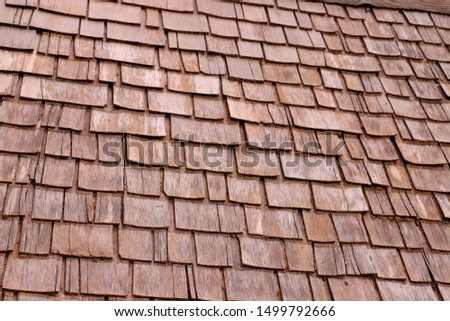 Wooden roof made of wood Shingles in brown and light brown #1499792666
