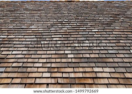 Wooden roof made of wood Shingles in brown and light brown #1499792669