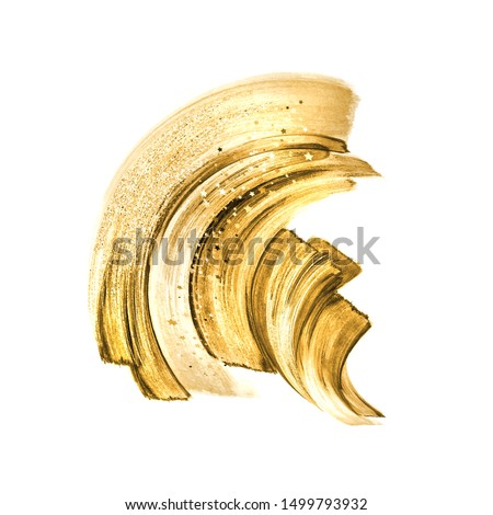 golden paint smear, yellow brush strokes, abstract hand painted shape, watercolor clip art isolated on white background, makeup shimmer, fashion illustration, splashing design element