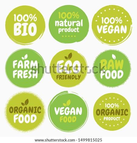 Fresh healthy organic vegan food logo labels and tags. Vector hand drawn illustration. Vegetarian eco green concept  #1499815025