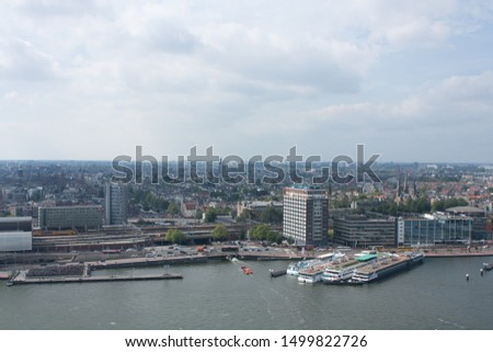 Aerial view of Amsterdam city. Amsterdam, Netherlands, 08/30/2019 #1499822726