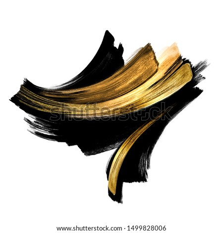 black ink calligraphic shape with golden smear, hand painted watercolor clip art isolated on white background, fashion illustration, abstract gouache splashing, splash design element