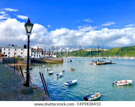 Bayard's Dartmouth Devon where the Pilgrim Father's called in before sailing for America. A beautiful popular town in England's West Country Royalty-Free Stock Photo #1499838410