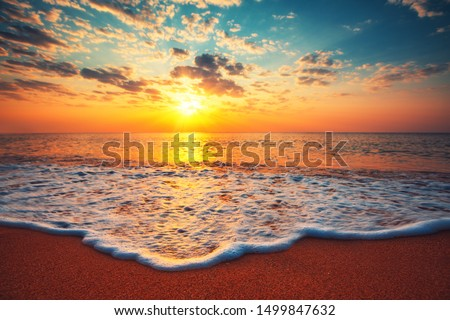 Beautiful cloudscape over the sea, sunrise shot Royalty-Free Stock Photo #1499847632