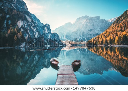 Boats on the Braies Lake ( Pragser Wildsee ) in Dolomites mountains, Sudtirol, Italy #1499847638