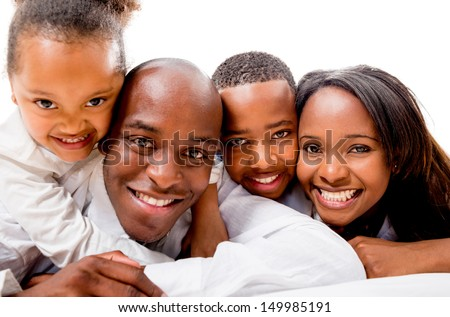 Beautiful family portrait smiling together - isolated over white background  #149985191