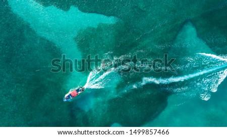 Aerial Shot Speed Boat in dock in Roatan Islas de la Bahia Honduras