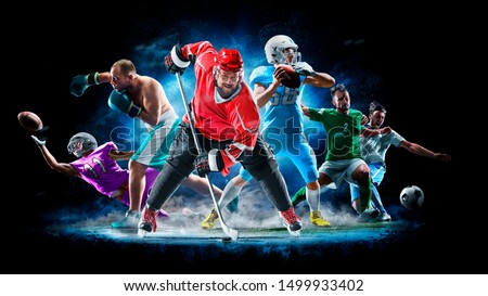 Multi sport collage football boxing soccer ice hockey on black background Royalty-Free Stock Photo #1499933402