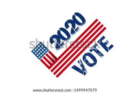 Vote 2020 in USA, banner design. American patriotic background election day. Usa debate of president voting. Election voting poster. Political election campaign. Flyer vector blue red white logo. #1499947079