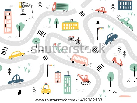 Seamless pattern with hand drawn cars and road. Cartoon background for Kids. Vector illustrations