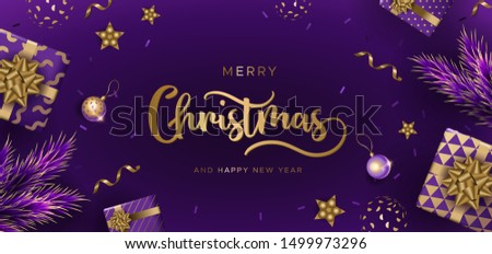 Christmas background with gifts, pine branches and festive balls. Unique design for banner, poster or invitation #1499973296