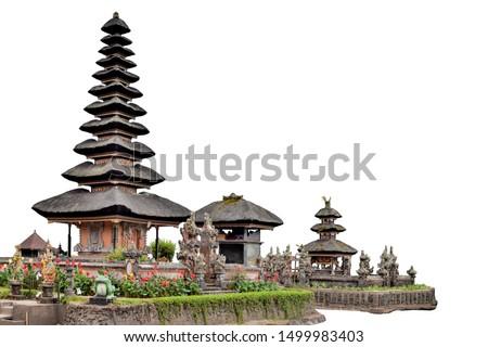 Pura Ulun Danu Beratan (or Pura Bratan) isolated on white background. It is a temple on Bali, Indonesia. #1499983403