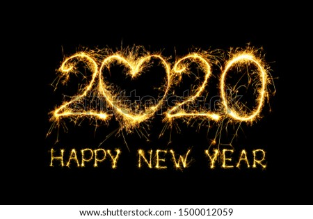 Happy New Year 2020. Creative collage text Happy New Year 2020 on black background. Beautiful holiday template for design for New Year 2020 #1500012059