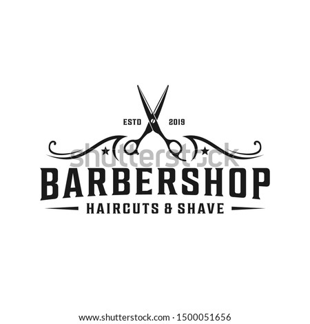 Barbershop simple minimalist logo design with elegant ornament