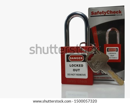 Bangkok, Thailand - 7 September 2019: Locks and tags out, Station lock, Special equipment for handyman on the White Blackground. #1500057320