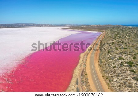 Hutt Lagoon is between Geraldton and Kalbarri Western Australia. Lake turns pink from algae with red pigments. #1500070169