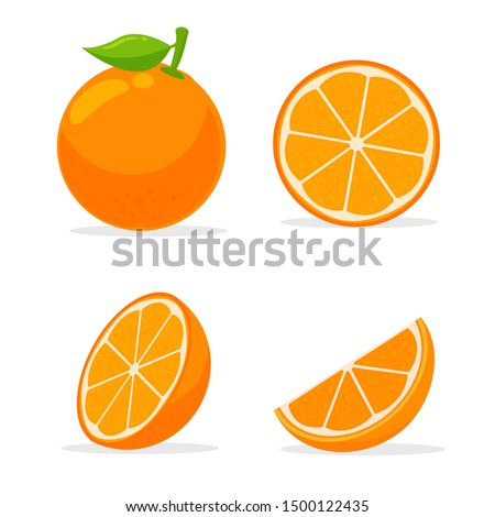 Orang fruit. Oranges that are segmented on a white background. #1500122435