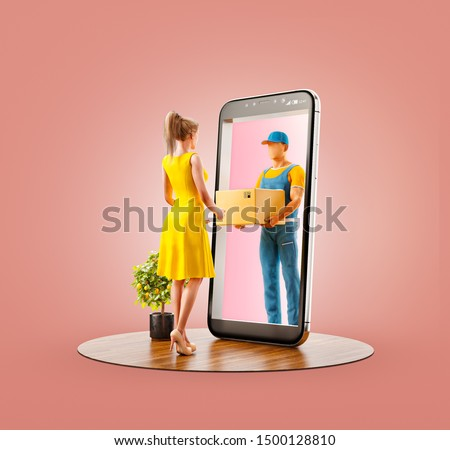 Unusual 3d illustration of a young woman receiving parcel from delivery service courier through smart phone screen. Delivery and post apps concept.
